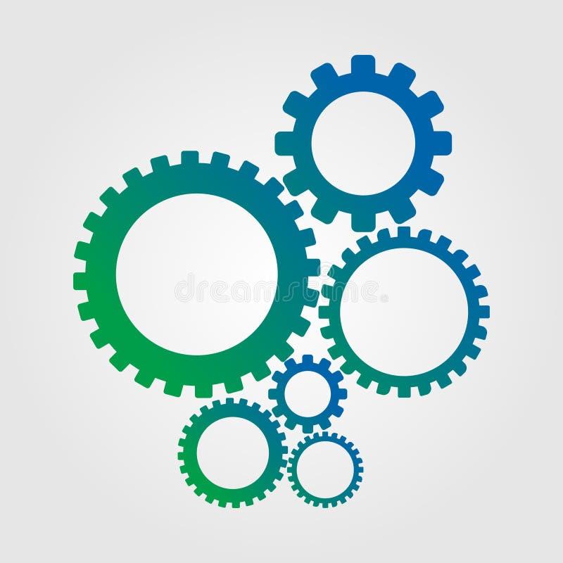 Abstracte toestellenwielen die op witte achtergrond worden geïsoleerd Modern technisch ontwerp met gradiëntkleuren stock illustratie