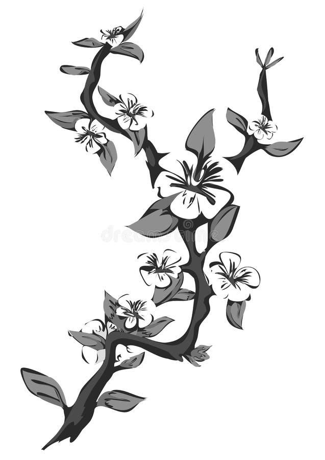 Abstracte tot bloei komende appelboom Grafische tak van appel in zwart-wit stock illustratie