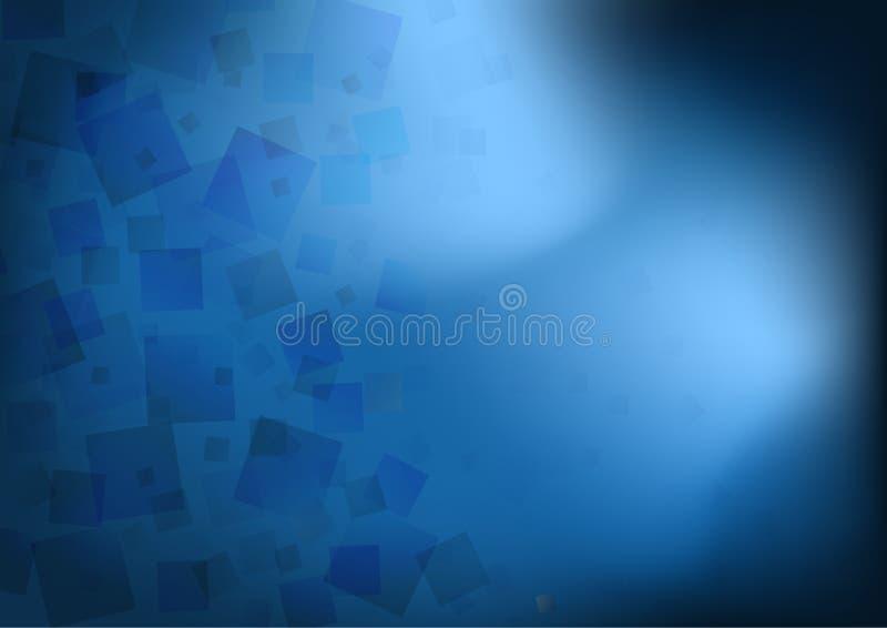 Abstracte transparante blauwe vierkantenoverlapping op donkere achtergrond met licht vector illustratie