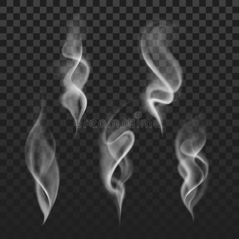 Abstracte transparante rook hete witte die stoom op geruite achtergrond wordt geïsoleerd royalty-vrije illustratie