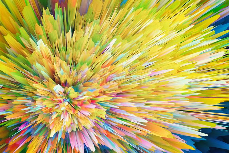Abstracte trillende veelkleurige explosieachtergrond stock foto