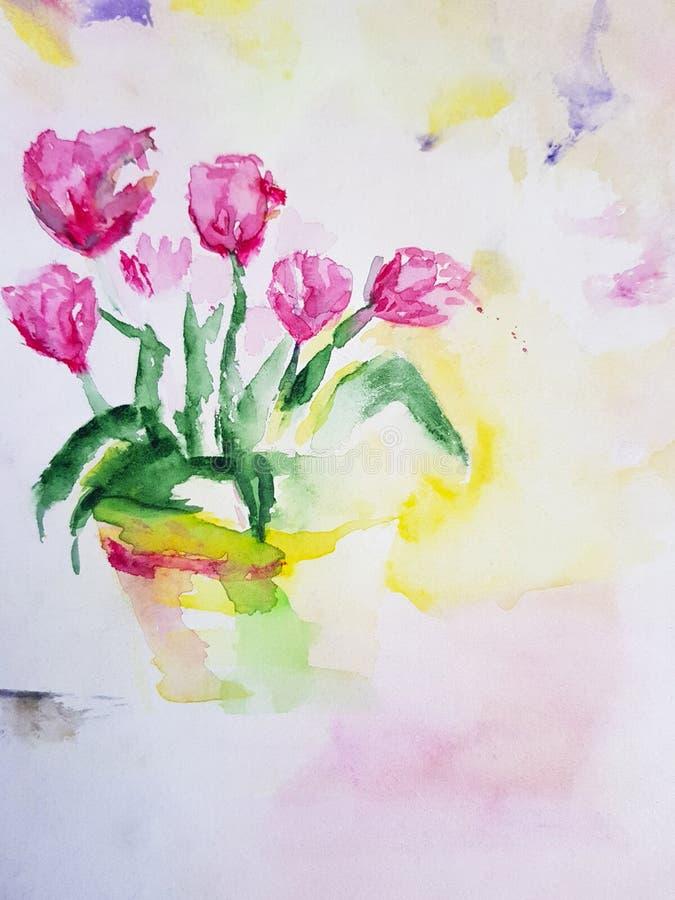 Abstracte tulpenbloem het schilderen achtergrond kunstwerk vector illustratie