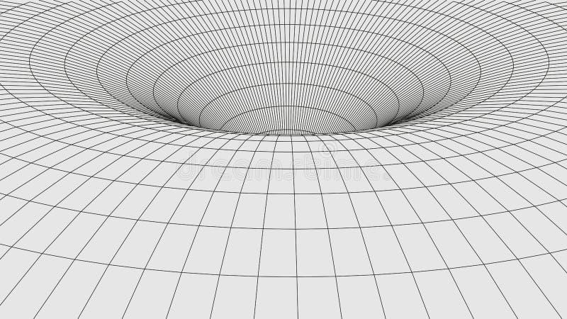 Abstracte Tunnel 3D wormhole met een netwerkstructuur stock illustratie