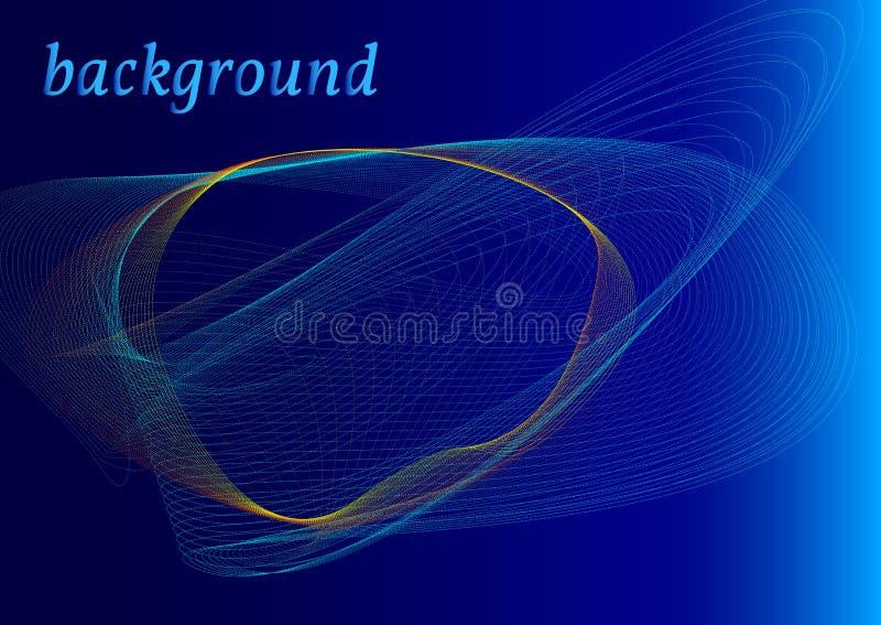 Abstracte turkooise en gele golven op een blauwe achtergrond royalty-vrije illustratie