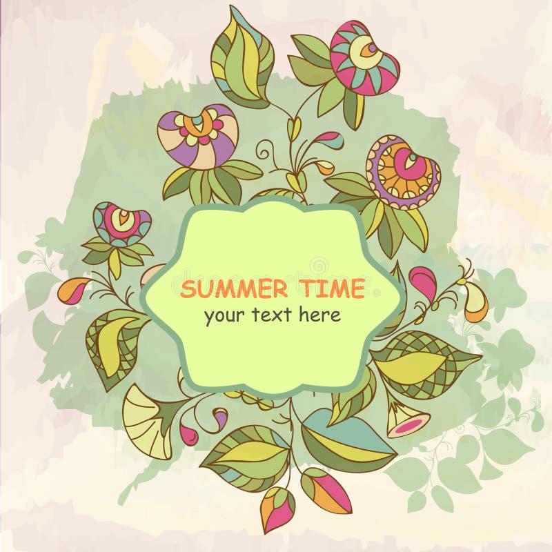 Abstracte uitnodigingskaart Het ontwerp van malplaatjebloemen voor kaart Abstracte bloemenachtergrond, vectorornamenten - de zome stock illustratie