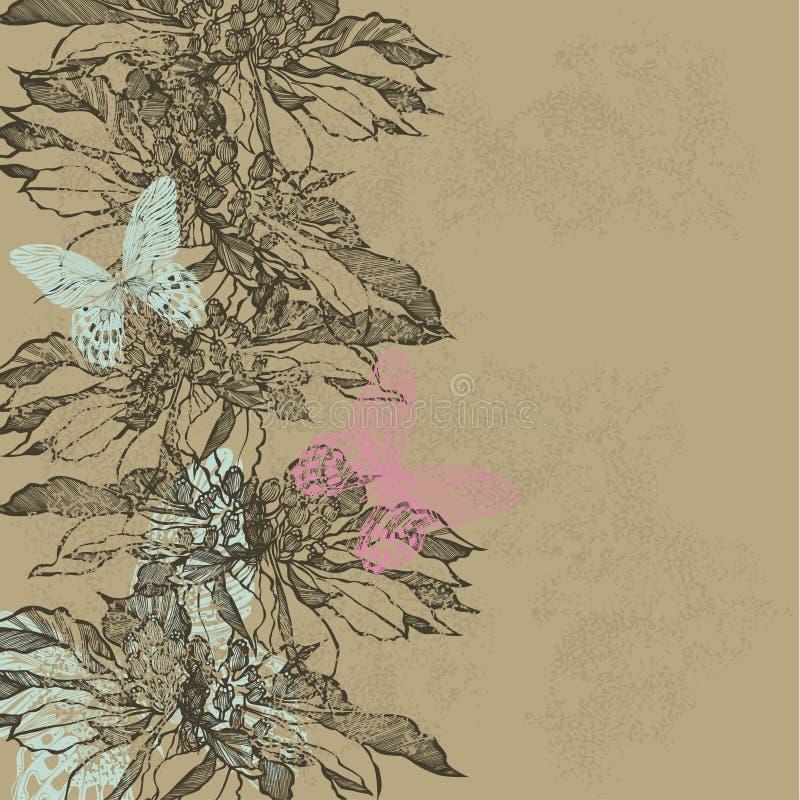 Abstracte uitstekende achtergrond met bloemen en vlinders Vector vector illustratie