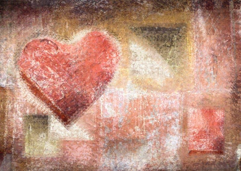 Abstracte uitstekende achtergrond met grungetextuur Kleurpotloodhart vector illustratie