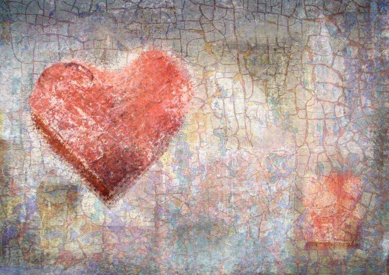 Abstracte uitstekende achtergrond met grungetextuur Kleurpotloodhart stock illustratie