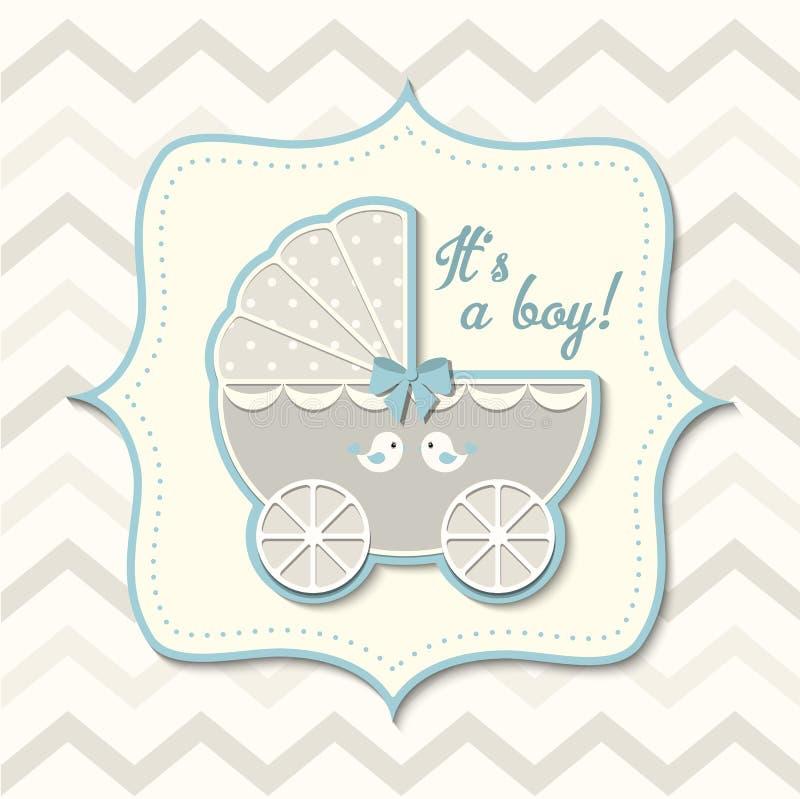 Abstracte uitstekende jongenswandelwagen, babydouche stock illustratie