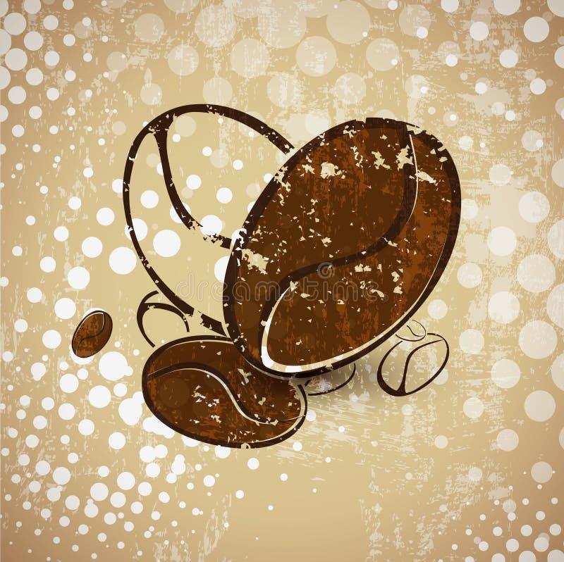 Abstracte Uitstekende Koffiebonen royalty-vrije illustratie
