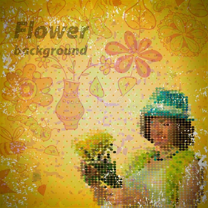 Abstracte uitstekende sjofele achtergrond met bloemen royalty-vrije illustratie
