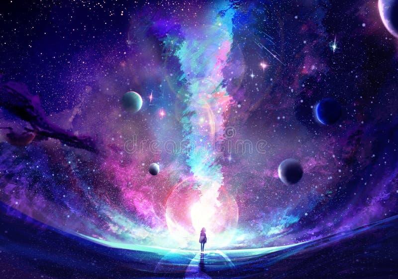 Abstracte Unieke Jonge Vrouw die zich in het midden van een Melkwegbarst bevinden stock afbeelding
