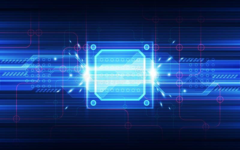 Abstracte van de achtergrond technologie chipset bewerker kringsraad en HTML-code, 3D van de illustratie blauwe technologie vecto vector illustratie