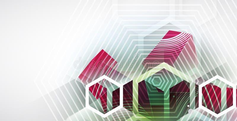 Abstracte van de de bedrijfs computer hexagon technologie van de structuurkring achtergrond vector illustratie
