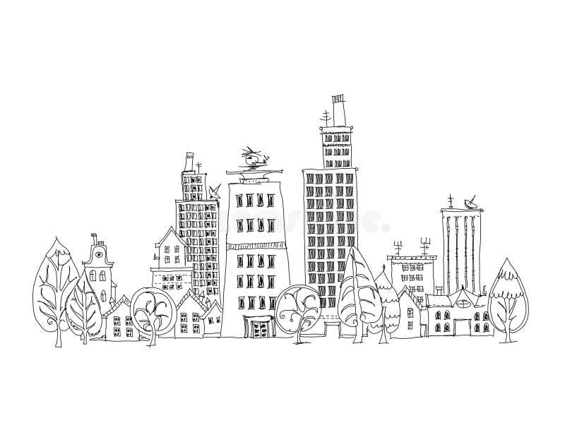 Abstracte van de bedrijfs stadsmening aria, Schetsinzameling vector illustratie