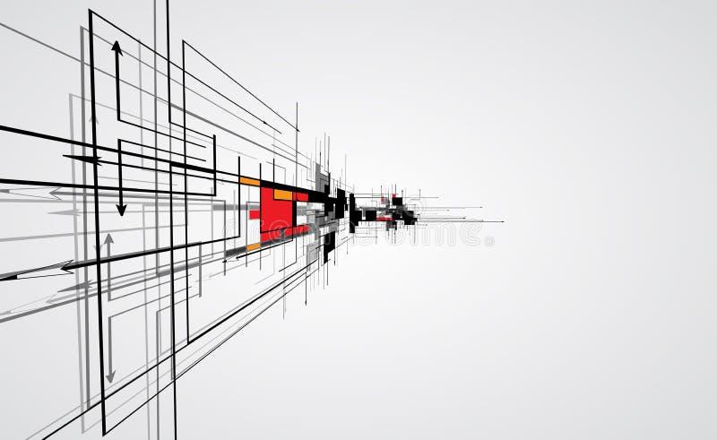 Abstracte van de de computerkubus van de structuurkring de technologie commerciële bac stock illustratie