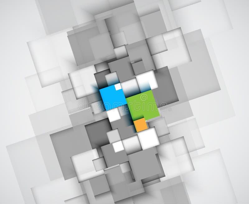 Abstracte van de de computerkubus van de structuurkring de technologie commerciële bac royalty-vrije illustratie
