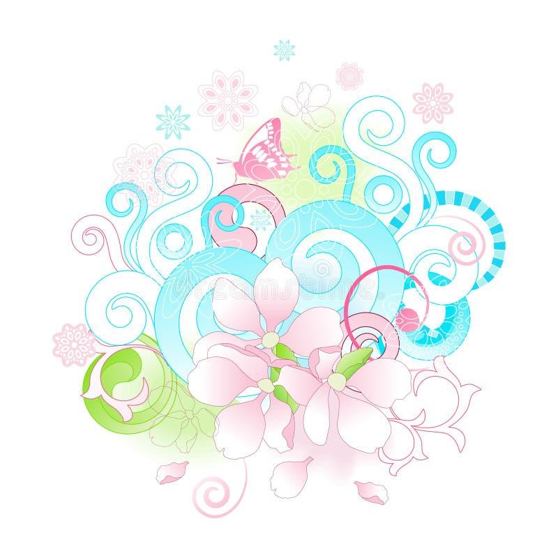 Abstracte van de lentebloemen en rollen achtergrond. stock illustratie