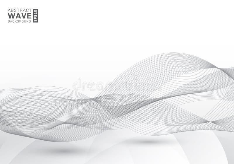 Abstracte van de snelheids grijze lijnen van malplaatje elegante swoosh futuristische de golven moderne achtergrond met exemplaar vector illustratie
