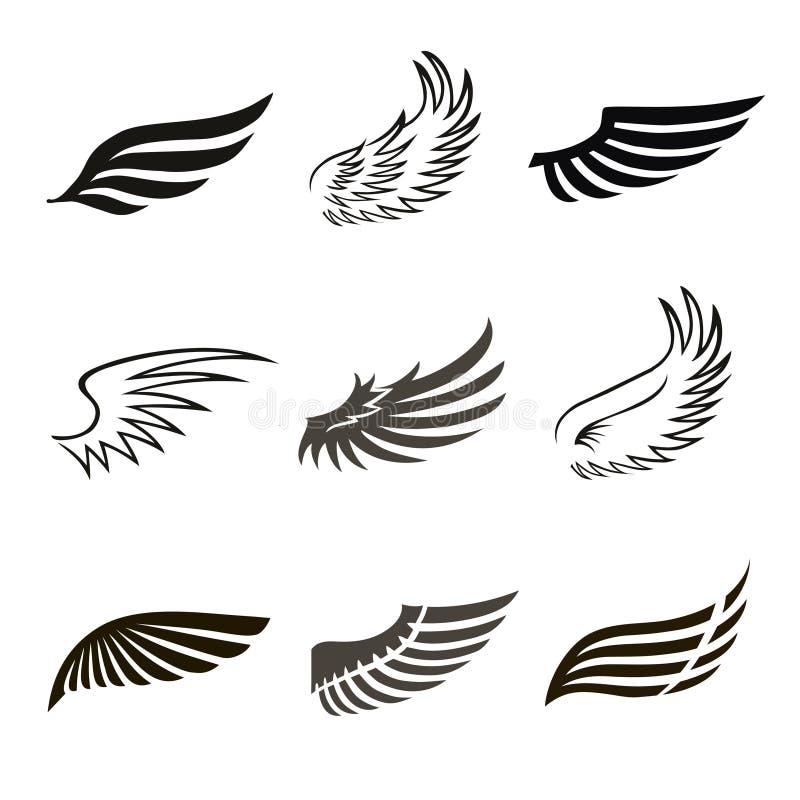 Abstracte van de veerengel of vogel geplaatste vleugelspictogrammen stock illustratie