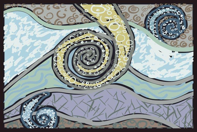 Abstracte van de windstrepen van de tekeningswinter de sneeuwkoude royalty-vrije illustratie