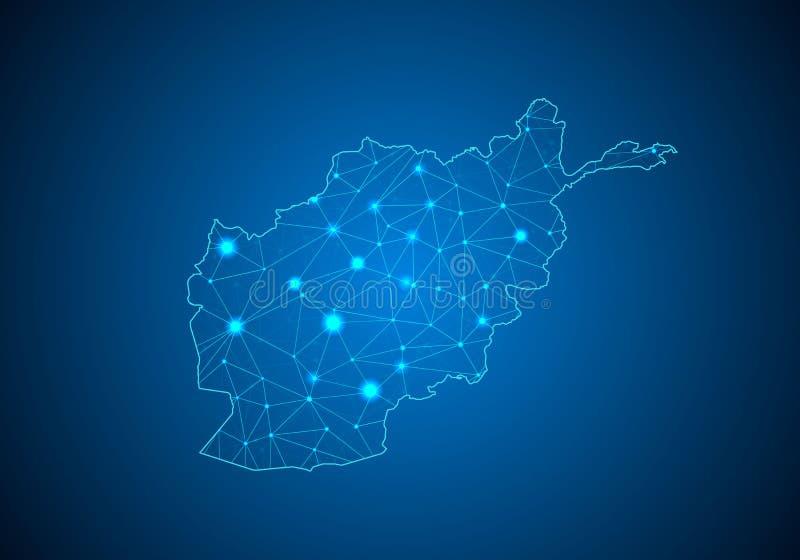 Abstracte van het brijlijn en punt schalen op donkere achtergrond met Kaart van Afghanistan stock illustratie