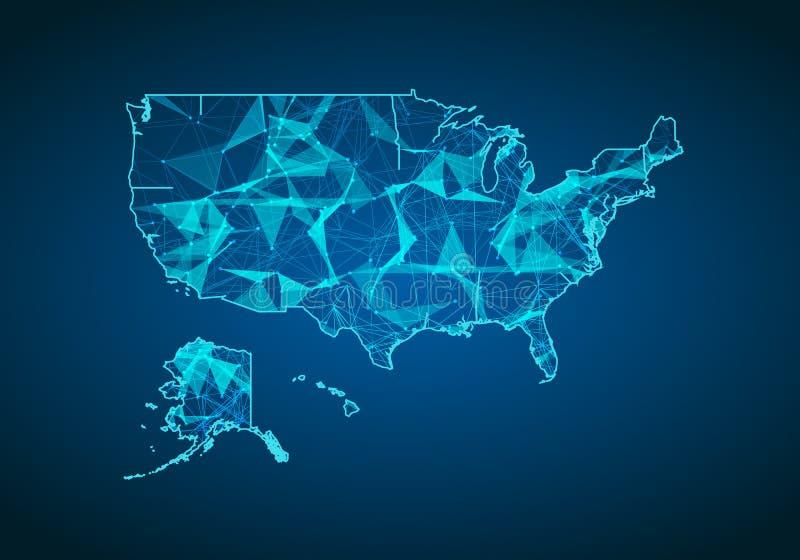 Abstracte van het brijlijn en punt schalen op donkere achtergrond met kaart van Amerika Abstract netwerk vectorconcept de V.S. In vector illustratie