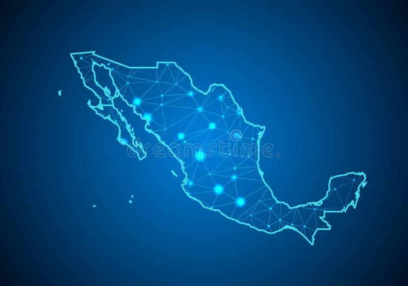 Abstracte van het brijlijn en punt schalen op donkere achtergrond met Kaart van Mexico stock illustratie