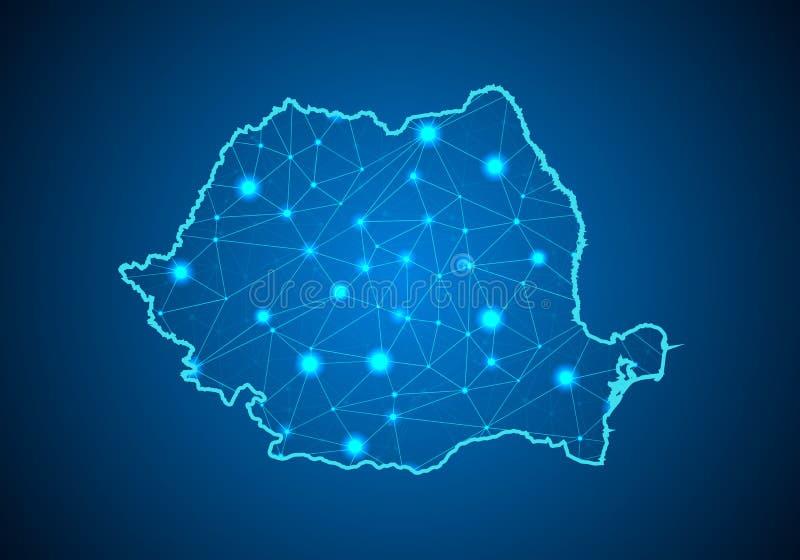 Abstracte van het brijlijn en punt schalen op donkere achtergrond met Kaart van Roemenië vector illustratie