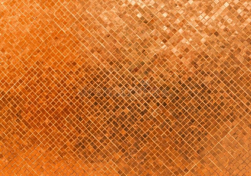 Abstracte van het het Glas Naadloze Patroon van Luxe Glanzende Rusty Orange Wall Flooring Tile het Mozaïektextuur Als achtergrond royalty-vrije stock afbeelding