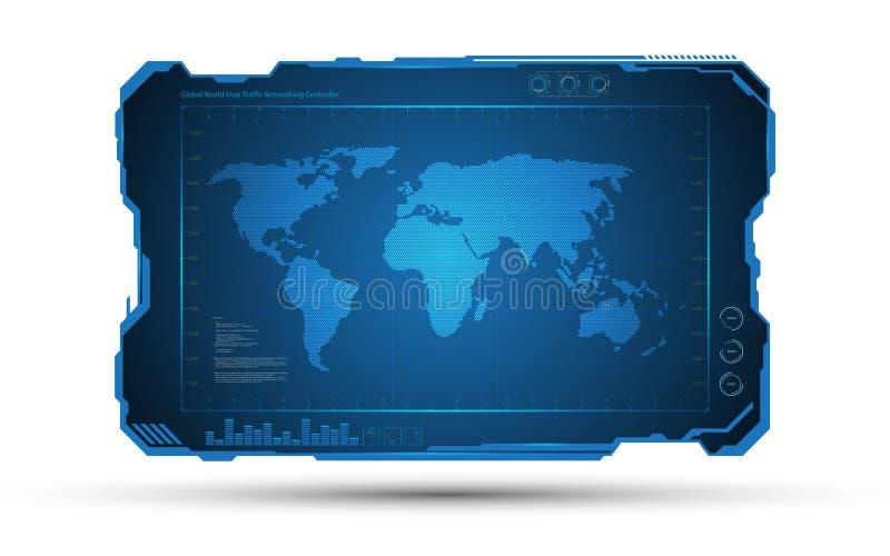 Abstracte van het kadertechnologie van de wereldkaart digitale het conceptontwerpachtergrond van FI van sc.i stock illustratie