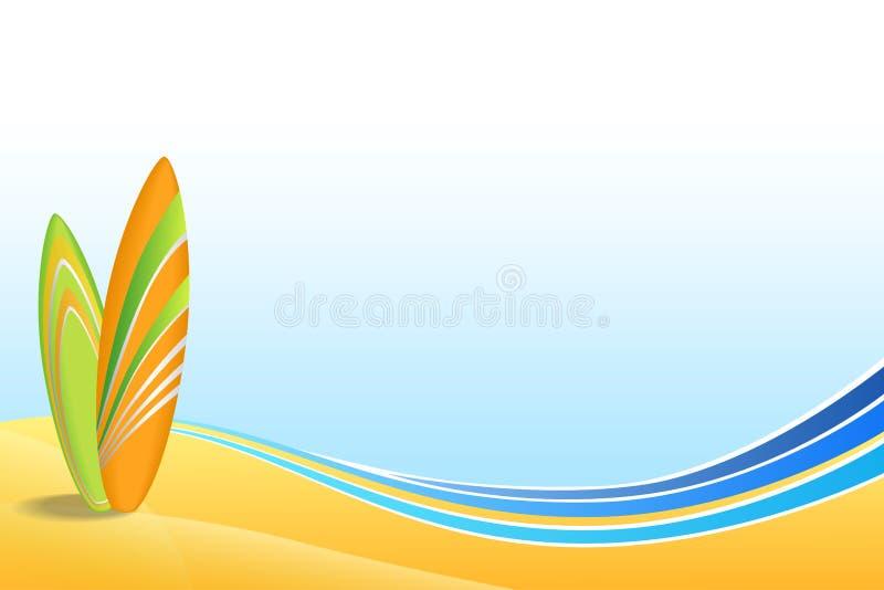 Abstracte van het ontwerp oranje groene surfplanken achtergrond van de overzeese kustvakantie het strand blauwe geel vector illustratie