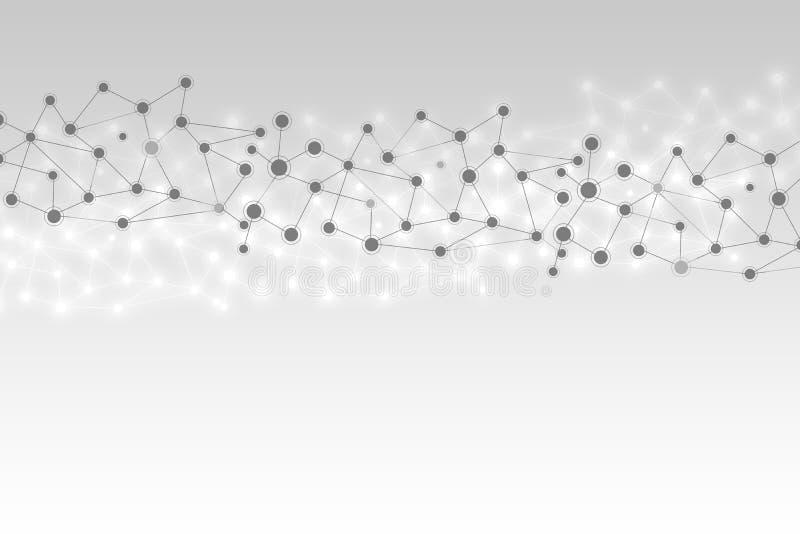 Abstracte van technologie geometrische veelhoekige lijnen illustratie als achtergrond, medisch concept royalty-vrije illustratie