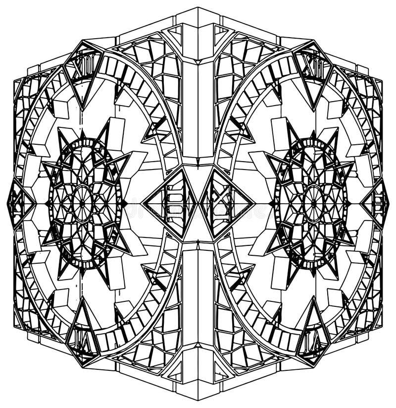 Abstracte Vector 02 van het Horloge van de Klok van de Kubus Gotische vector illustratie