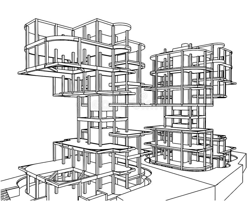Abstracte Vector 219 van de Structuur van de Bouw stock illustratie