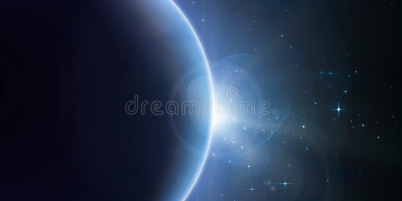 Abstracte vector blauwe achtergrond met planeet en verduistering van zijn ster royalty-vrije illustratie