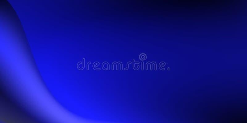Abstracte vector blauwe golvende stroom, gradiënteffect met zwarte achtergrond royalty-vrije illustratie