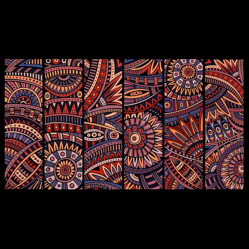 Abstracte vector etnische geplaatste patroonkaarten stock illustratie