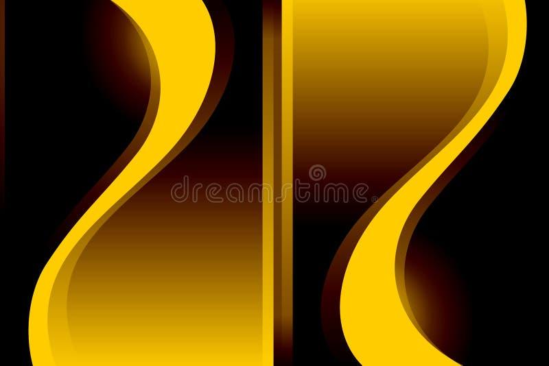 Abstracte vector gele golvende in de schaduw gestelde achtergrond stock illustratie