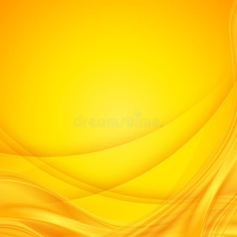 Abstracte vector glanzende gele golvende achtergrond royalty-vrije illustratie