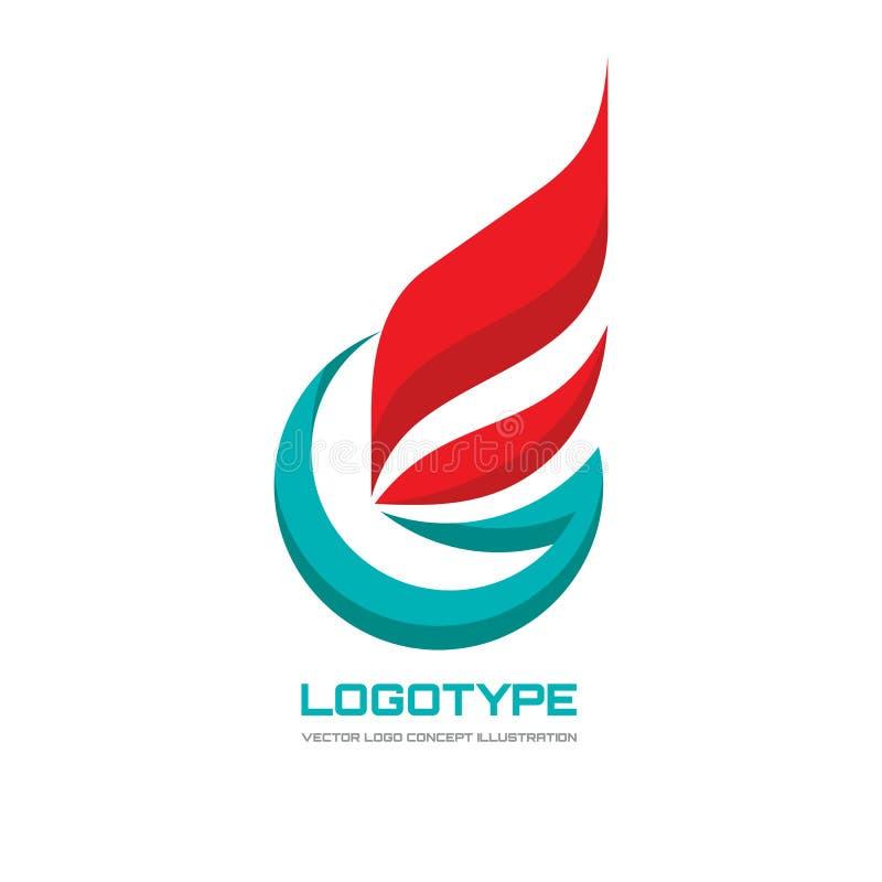 Abstracte vector het conceptenillustratie van het embleemmalplaatje Vlag bedrijfsteken Brieveng symbool Het pictogram van de vlam vector illustratie