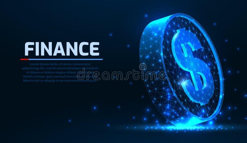 Abstracte vector het muntstuk 3d moderne illustratie van de wireframedollar op donkere achtergrond Technologie en Internet-handel royalty-vrije illustratie