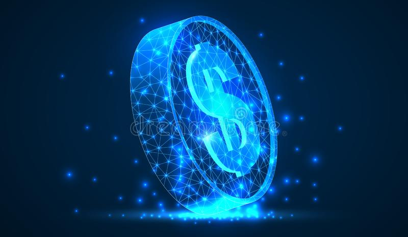 Abstracte vector het muntstuk 3d moderne illustratie van de wireframedollar op donkere achtergrond Technologie en Internet-handel stock illustratie