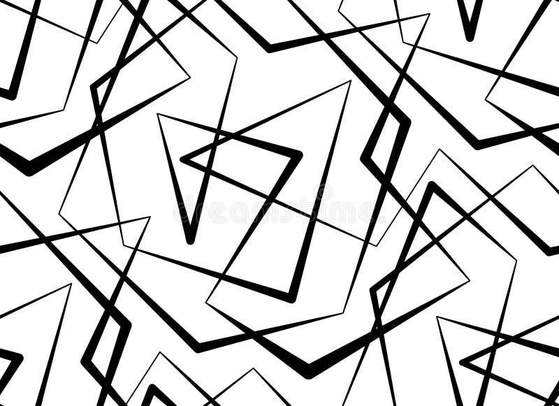Abstracte vector naadloze witte achtergrond van zwarte lijnen stock illustratie