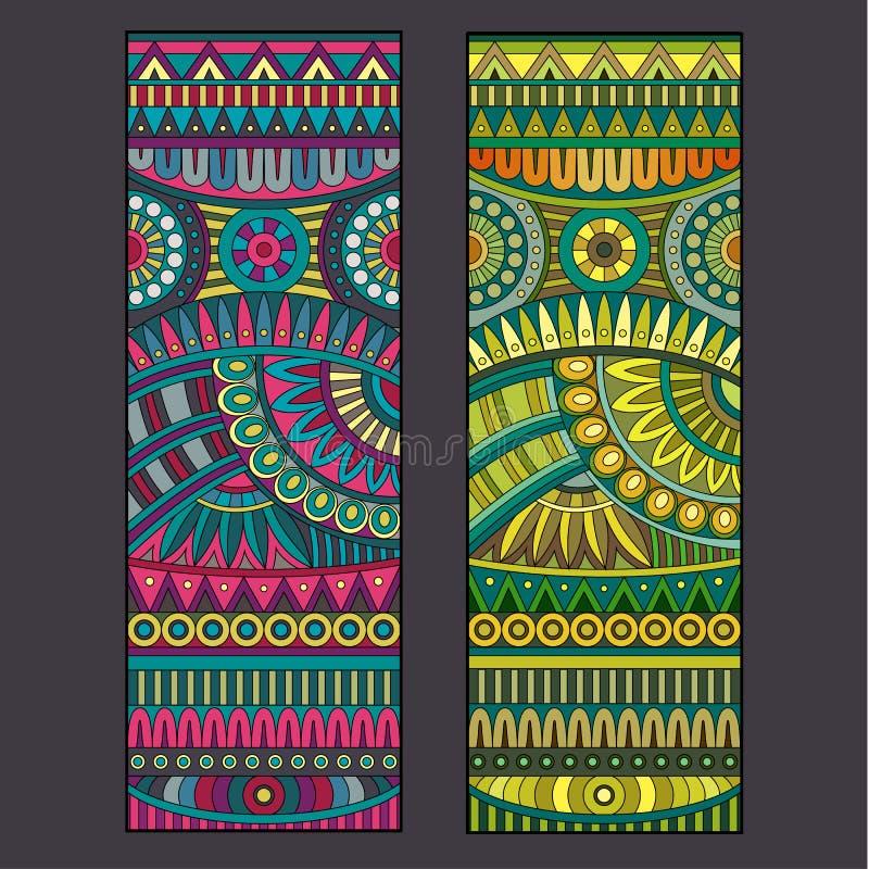 Abstracte vector stammen etnische reeks als achtergrond. stock illustratie