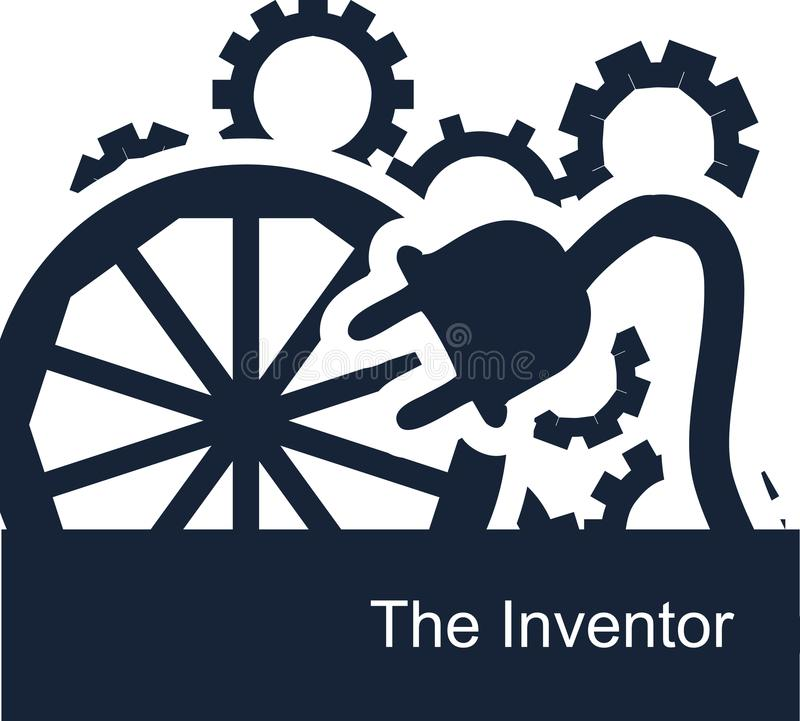 Abstracte vector symbolische illustratie op een witte achtergrond voor een achtergrond of Webpictogrammen voor een uitvinder vector illustratie