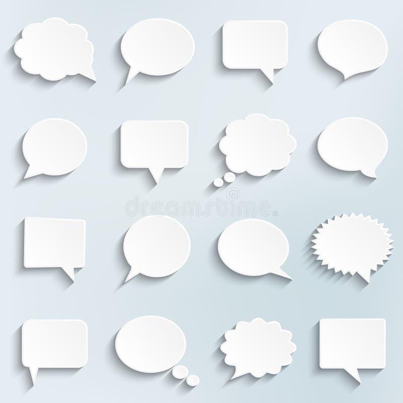 Abstracte Vector Witte Geplaatste Toespraakbellen royalty-vrije illustratie