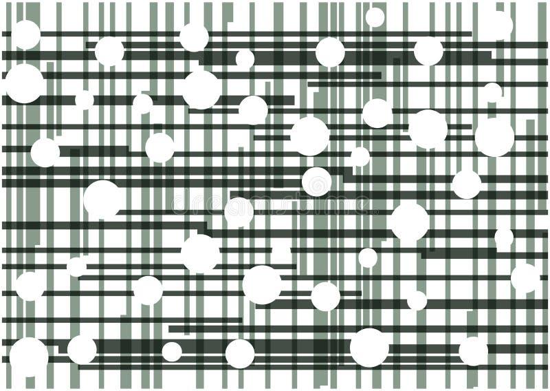 Abstracte vector zwarte lijnen en witte cirkelsachtergrond stock illustratie