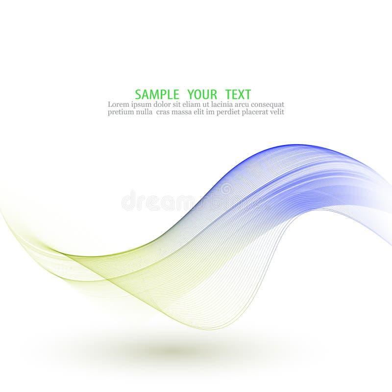 Abstracte vectorachtergrond, blauwe en groene gegolfte lijnen Transparante vlotte golf stock illustratie
