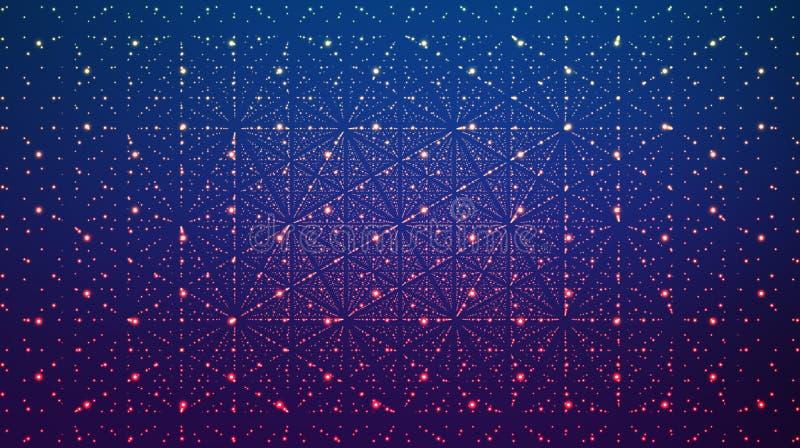 Abstracte vectorachtergrond Matrijs van gloeiende sterren met illusie van diepte en perspectief vector illustratie